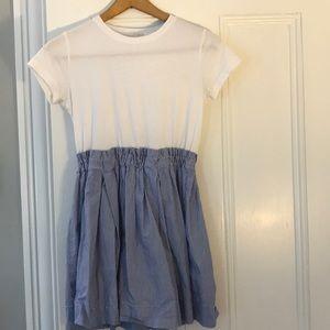 Crew cuts dress. T-shirt on top seersucker skirt.